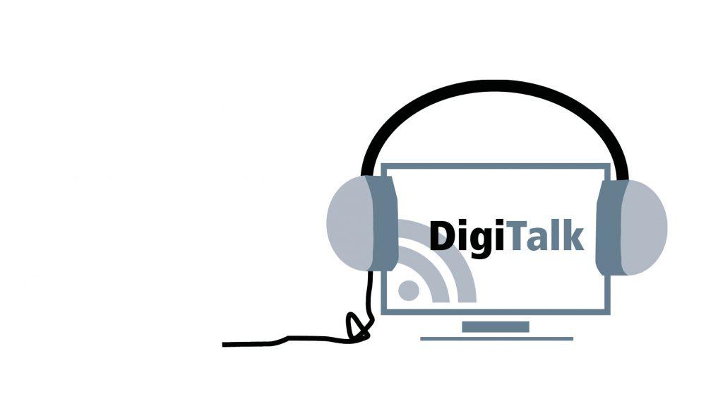 Logo DigiTalk, Bildschirm mit Kopfhörern